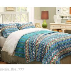 NEW 3 PIECE KING FULL QUILT SET REVERSIBLE ZIG ZAG BLUE GREEN BEDDING BED SET on eBay!