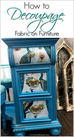 Learn how to paint and decoupage furniture with this gorgeous painted vanity project. Painted furniture with peacock fabric decoupaged to the drawers. via Furniture Ideas. Decoupage Furniture, Shabby Chic Furniture, Fabric Decoupage, Flipping Furniture, Painted Vanity, Recycled Furniture, Painted Furniture, Vintage Furniture, Redo Furniture