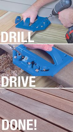 Create a better, more-beautiful deck with the Kreg Deck Jig. This concealed-fastening system works with Kreg Deck Screws to install decking without visible fasteners. All you see is the beauty of your decking instead of a bunch of screws. The Deck Jig features hardened-steel guides to drill precisely positioned pilot holes, and to guide Deck Screws to attach decking from the edge solidly and invisibly. Works with solid-wood or composite deck boards. || #kregjig #tools #deck #decking… Kreg Deck Jig, Kreg Jig, Composite Decking, Outdoor Projects, Diy Projects, Wood Kiln, Small Woodworking Projects, Pocket Hole