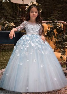 Wedding Dresses Ball Gown, Unique Tulle Bateau Neckline Half Sleeves Ball Gown Flower Girl Dresses With Belt & Bowknot & Beaded Handmade Flowers DressilyMe Wedding Flower Girl Dresses, Flower Dresses, Ball Dresses, Ball Gowns, Lace Flower Girls, Gown Wedding, Lace Wedding, Gowns For Girls, Little Girl Dresses