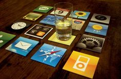 iPhone Coaster Set by Meninos - so cute! Home Bar Accessories, Decorative Accessories, Quirky Home Decor, Diy Home Decor, Room Decor, Man Cave Must Haves, Iphone Icon, Iphone App, Cool Coasters