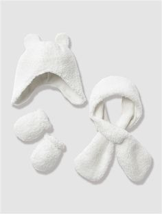 Ensemble bonnet, écharpe et moufles bébé ECRU - vertbaudet enfant