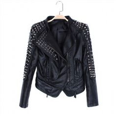 269.99$  Buy here - http://vitlp.justgood.pw/vig/item.php?t=f222jw944545 - New Handmade Women's Silver Studded Black Color Leather Jacket woman style 269.99$