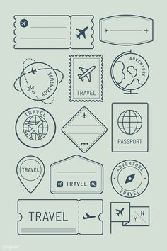 Travel stickers and badge set vector Bullet Journal Travel, Bullet Journal Notebook, Bullet Journal Ideas Pages, Bullet Journal Inspiration, Bullet Journal Vectors, Travel Journal Pages, Travel Stamp, Travel Logo, Travel Icon
