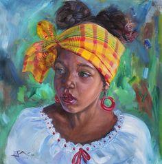 Nisi Large Portrait Black Girl Art, Black Women Art, African Colors, African Artwork, Haitian Art, Caribbean Art, Poetry Art, Black Artwork, Afro Art