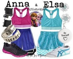 Exercise outfits inspired by Anna & Elsa from the movie Frozen!