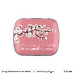 Cherry Blossoms Custom Wedding Favor Tins (pink) Candy Tins
