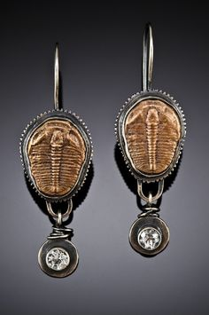Sterling Silver and Bronze Trilobite Earrings. $120.00, via Etsy.