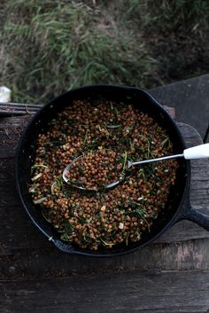 petite kitchen: BUTTERED BALSAMIC LENTILS WITH SPINACH AND GARLIC