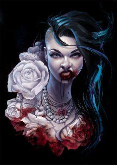 Sexy goth vampire queen tattoo design