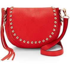 Rebecca Minkoff Unlined Saddle Bag ($295) ❤ liked on Polyvore featuring bags, handbags, studded handbags, red studded purse, rebecca minkoff handbags, studded leather purse and leather handbags