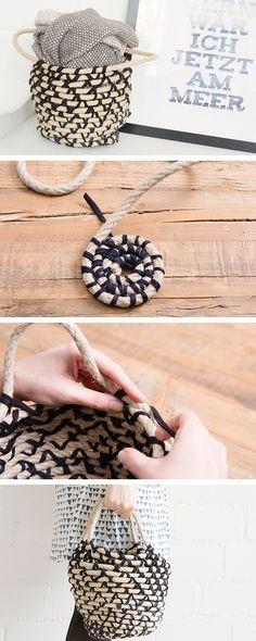DIY tutorial: How to Weave a Rope Basket With Handles  via en.DaWanda.com