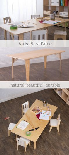 Wooden Kids Play Table is made of natural, beautiful, durable materials. Choose what size you want. Perfect for school or home. Kids craft room table.