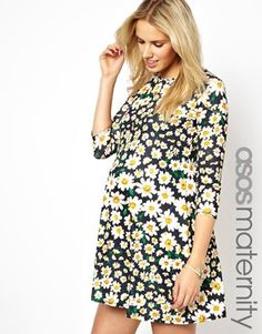 Image 1 ofASOS Maternity Exclusive Swing Dress In Daisy Print
