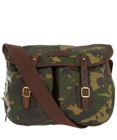 Barbour camouflage waxed cotton satchel