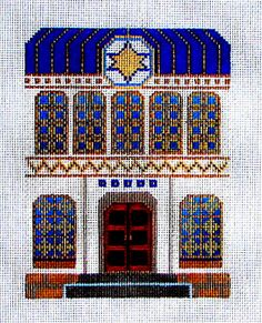 """SALE**Needlepoint  Kit, Hand painted  SYNAGOGUE  Blue roof  with the """"Star of David"""" in the center, At a special price!!!"""