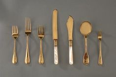 This gold plated flatware made by S. Kirk & Son was used by the Eisenhowers.  Francis Cleveland selected the pattern in the 1890's....White House Entertaining  National Museum of American History