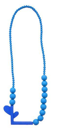 Wooden Necklace with Handpainted Blue Wooden Beads door KatjaSobol, €49.00