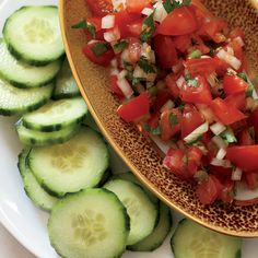"Tomato Salsa with Cucumber ""Chips"" // Great Mexican Recipes: http://www.foodandwine.com/slideshows/mexican #foodandwine"