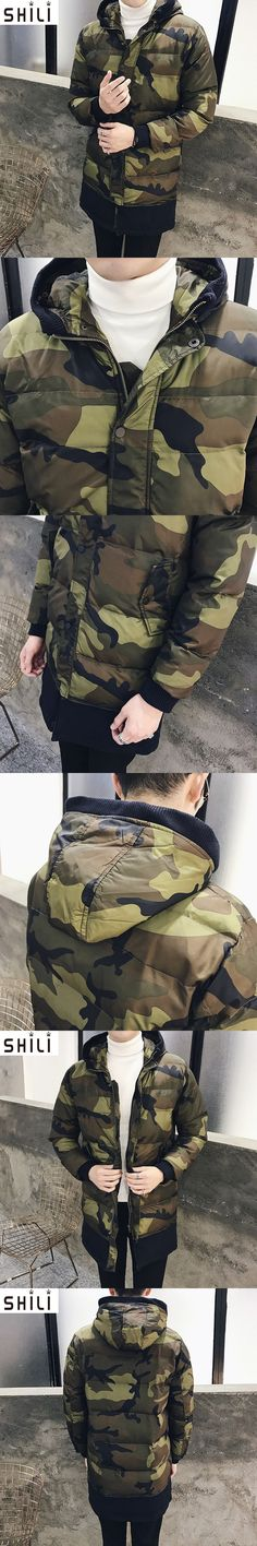 Hot Selling 2017 winter New Arrival Men Fashion Camouflage Jacket Tide Male thick Hooded Coat  Long Cotton-padded jacket
