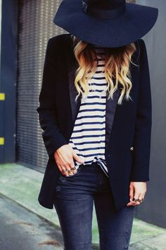 Shop this look on Lookastic:  http://lookastic.com/women/looks/navy-hat-white-and-navy-long-sleeve-t-shirt-navy-blazer-navy-skinny-jeans/8781  — Navy Wool Hat  — White and Navy Horizontal Striped Long Sleeve T-shirt  — Navy Blazer  — Navy Ripped Skinny Jeans