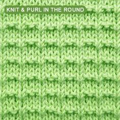 Ridge Rib - Pattern 1 - knitting in the round   Knit - Purl stitches