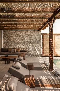 Hotel Casa Cook Kos - The Best of Architecture Ideas Outdoor Pergola, Backyard Patio, Backyard Landscaping, Outdoor Spaces, Outdoor Living, Pergola Kits, Pergola Plans, Cheap Pergola, Wooden Pergola
