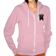 Dicky Pug – Ladies Zip Hooded Jacket.  You'll feel comfortable and cozy in this Flex Fleece hoodie by American Apparel. See it here---> http://pugsareus.net/frompinterest