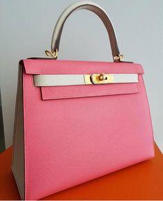 8d519f9d2903 Hermes Kelly 28 Sellier HSS Rose Azale   Craie Epsom Ghw A  Hermeshandbags