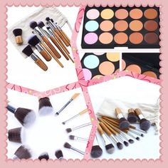 11 piece brushes with bag,, contour palette& brush 100% brand new High quality brushes hair feels soft and comfortable Easy to stick powder, Professional cosmetic tool suitable for personal use and studio Material:fiber hair + wooden  Brushes Included: Dome blush brush Foundation brush(facial mask brush) Long handle dome blush brush Dome blending eye brush Angled blush brush Eye-shadow brush Round nose brush Eyeliner brush Blender face brush Flat top brush Mini kabuki brush Package:11pcs…