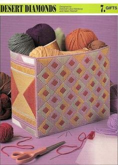 Plastic Canvas Desert Diamonds I'm not fond of the design, but the idea for some awesome baskets/boxes? oh yeah! Plastic Canvas Stitches, Plastic Canvas Tissue Boxes, Plastic Canvas Crafts, Plastic Canvas Patterns, Bargello Patterns, Canvas Handbags, Canvas Purse, Plastic Canvas Christmas, Handmade Christmas Gifts