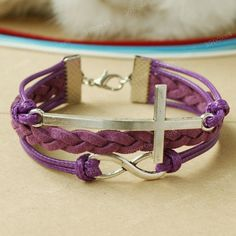 by (39boxes) Cross bracelet - purple infinity bracelet with cross charm, birthday gift for mom, girlfriend, bff, 39boxes, Bracelet, Metal, Bracelets, Xmas+gift, New+years+gift, Infinity+bracelet, Cross+bracelet, Anniversary+gift, Purple, Cheap+gift, Womens+gift, Surprise+gift, Bracelet+for+women, Jewelry+wholesale, Unique+gift,