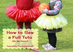 How to sew a full tutu skirt in an hour tutorial -Fold the fabric in half over the elastic, leaving the knot poking out the end. Sew the two layers of fabric together close to (but not through) the elastic.