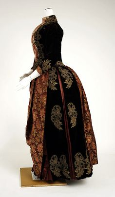 """Dress, Walking. Date: 1885–90 Culture: American (probably) Medium: silk, metallic thread. Accession Number: 1980.126.5"" The Metropolitan Museum of Art - Dress, Walking"