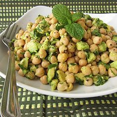 Chickpea salad with avocado, lime, and mint - aka mojito chickpeas!
