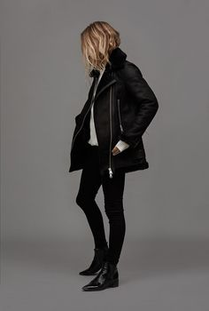 Reiss X Lucy Williams - Reiss Editorial  STARLING SHEARLING AVIATOR JACKET BLACK £895
