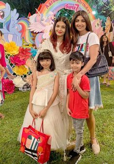 Shilpa Shetty also offered a glimpse of Aaradhya's fun-filled birthday party. We bet you've never seen Abhishek Bachchan dance like this Teen Celebrities, Indian Celebrities, Bollywood Celebrities, Bollywood Actress, Celebs, Bollywood Stars, Bollywood Fashion, Aaradhya Bachchan, Bridal Chuda