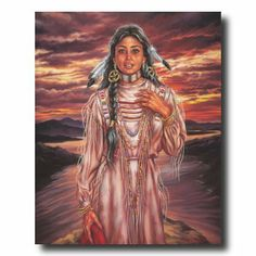 Native Indian Women Drawings   Art Prints Inc Native American Indian Girl Sunset By Lake Home Decor ...