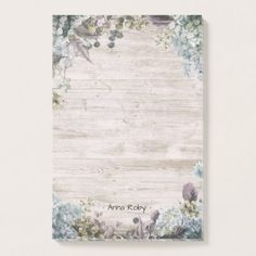 Elegant Watercolor Botanical Floral & Rustic Wood Post-it Notes - rustic gifts ideas customize personalize