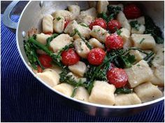 Ricotta Gnocchi with Broccolini & Blistered Cherry Tomatoes in a Roasted Garlic Sauce