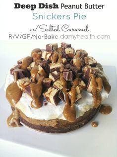 Raw Vegan No-Bake Deep Dish Peanut Butter Snickers Pie w/ Salted Caramel | Amy Layne Paradigm Blog