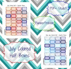 July Colored Half Boxes   Free Printable Planner Stickers from PlannerProblem.wordpress.com! Available in both old and new July colors! Download for free at the link below! https://plannerproblem.wordpress.com/2016/07/01/july-colored-half-boxes-free-printable-planner-stickers/