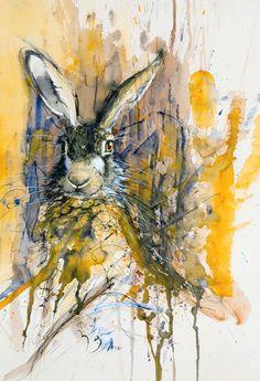 Haas-oranje by Walty Dudok van Heel Watercolor Sketch, Watercolor Bird, Watercolor Animals, Watercolor Paintings, Rabbit Art, Bunny Art, Pastel, Animal Paintings, Beautiful Paintings