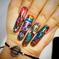 Troubles troubles!! 😎😈🤡🤖#nail#tattoo #illustration… Nail Tattoo, Tattoo Illustration, Tattoos, Nails, Beauty, Instagram, Finger Nails, Tatuajes, Ongles