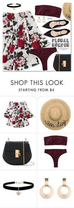"""Floral Romper"" by oshint ❤ liked on Polyvore featuring Eugenia Kim, Chloé and Betsey Johnson"