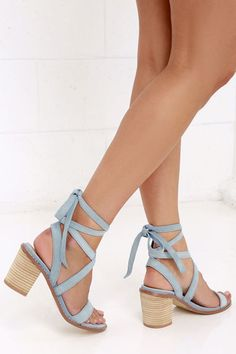 Chinese Laundry Calvary Powder Blue Suede Lace-Up Sandals