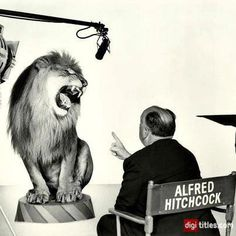 Alfred Hitchcock directing the MGM lion (1958) - The Story Behind MGM's Roaring Lion Logo