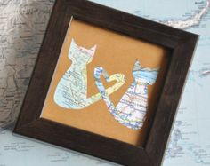 Gift for Boyfriend Long Distance Map Heart with Custom by ekra