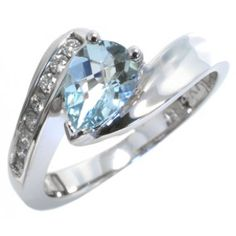 Diamond and aquamarine ring with 0.08carat total diamond weight and 7x5mm pear aquamarine in 14k white gold | #March #birthstone