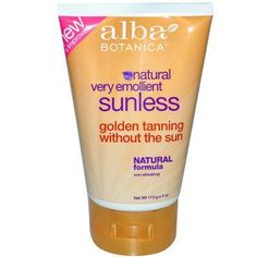 Go natural with Alba Botanica Sunless Tanning Lotion (1x4 OZ). Thoroughly clean and exfoliate skin. Being careful to avoid eye area, apply lotion evenly, using sparingly near hairline, knees, ankles,
